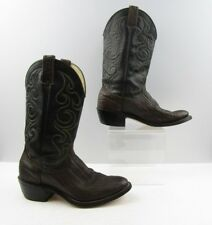 Ladies Wrangler Black Brown Exotic Leather Cowboy Western Boots Size: 8 B