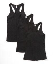 New Women's 3 Pack Black Burnout Racerback Tank Top Tops Sleeveless L XL