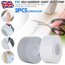 2PC Waterproof Wall Sealing Strip Bath Shower Sink Basin Edge White Sealant Tape