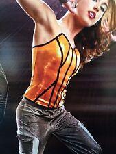 En Stock Tango naranja metálico Cami De Jazz Moderno Bailar Disfraz Adulto Medio