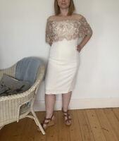 New Gina Bacconi Size 12 Cream Range Pencil Dress Cape Lace Wedding RRP £340