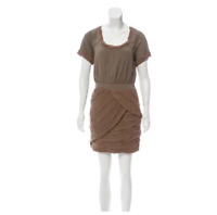 Diane Von Furstenberg Sz 10 Celia Dress Taupe Brown Short Sleeve Draped Chiffon