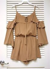 3/4 taupe ruffle cold shoulder romper S urban outfit w/ free earrings