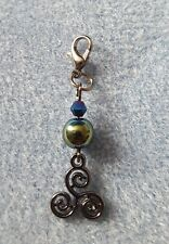 CLIP ON CHARM WITH GREEN HEMATITE AND TRISKELE CELTIC SPIRITUALITY HEALING
