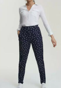 NWT Long Tall Sally Printed Jersey Edit Trouser Pants Navy/White Women's 12 (US)