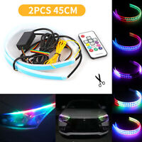 45CM RGB Slim Sequential Flexible LED DRL Turn Signal Strip Remote For Headlight