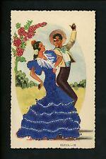 Embroidered clothing postcard Spain, Huelva woman man dancers castinets #28