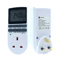Digital LCD Display UK Plug In Programmable Timer Switch Socket 24hr 7Day New UK