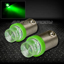 PAIR 8MM ROUND LED T10 BA9S T4W 1895 GREEN INTERIOR DOME LIGHT BULB/LAMP/BULBS