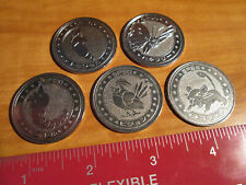 5x JAPANESE Pokemon METAL COIN Meiji Juice LOT#1 Metapod+Butterfree+Pidgeot+