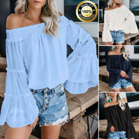 Womens Off The Shoulder Tops Long Bell Sleeve T Shirt Flared Casual Loose Blouse