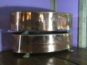 Pair Wonderful Quality Large Antique Copper & Brass Oval Planters. Lion Paw Feet