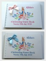 PERSONALISED PETER RABBIT  CHRISTENING  /BAPTISM GUEST BOOK / MEMORY BOOK ALBUM
