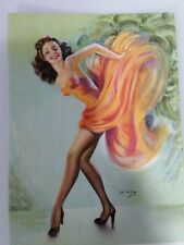 Vtg 1940's Ink Blotter card-Salesman's blank sample-Billy DeVorss Art-B562-Flap