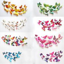 12Pcs Butterfly Double 3D Butterflies Wall Sticker Home Decal Venue Decor Art