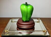 "Vintage Large Murano Style Blown Glass Green Bell Pepper Fruit Vegetable 4"" x 5"""