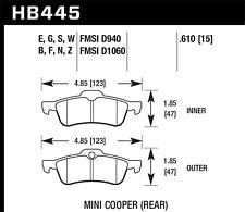 Disc Brake Pad Set-S, Turbo, Convertible Rear Hawk Perf fits 06-09 Mini Cooper