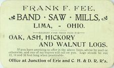 Business Card, Frank Fee, Band Saw Mills, Oak, Ash, Hickory & Walnut, Lima, Ohio