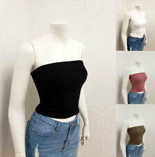 Women Casual Basic Solid Stretch Cotton Tube Top Shirt RT52631