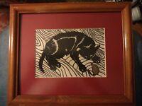 "Timothy S. Murphy Original Linoleum Cut ""Cat & Mouse"" Signed & Dated 1995 framed"