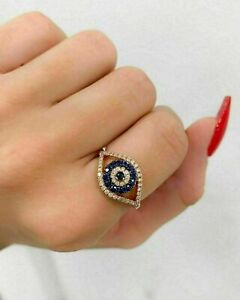 1.75 Ct Round Cut Blue Sapphire Evil Eye Halo Wedding Ring 14K Yellow Gold Over