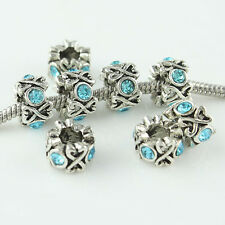 10X Czech Crystal Round Tibetan Silver Charm Spacer Beads Fit European Bracelet