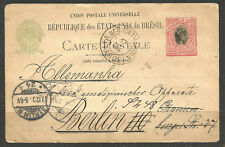 More details for brazil. 1906. 100r upu card. a des catarina – tarde. addressed to germany with b