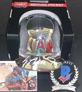Jo Adell Angels Auto Signed Chrome Mini Helmet Beckett Witness Hologram