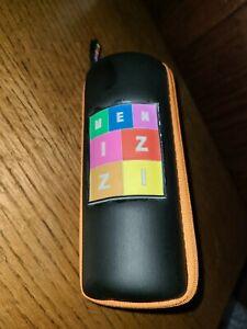 Menizzi Designer Eye Glass Case, Black Full Zip in Orange