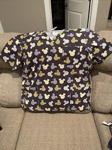 Disney Womens Scrub Top XL Mickey Mouse Gray Yellow Short Sleeve EUC