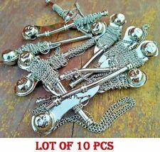 "Lot of 10 pcs 5"" Brass Bosun's Whistle w Chain Bosun Call Pipe chrome finish"