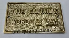 """Nautical Brass """"The Captain Word Is Law"""" Plaque or Sign Home Decorative Plaque"""