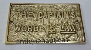 "Nautical Brass ""THE CAPTAIN WORD IS LAW"" Plaque or Sign Home Decorative Plaque"