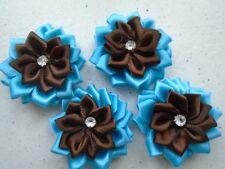 4 fleur satin 3D  40mm chocolat/turquoise,applique couture collage scrapbooking.
