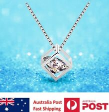 CUBE SIMULATED DIAMOND STERLING SILVER PENDANT WITH FREE SILVER NECKLACE GIFT