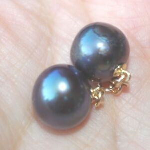 GORGEOUS 14K 11 X 10 MM CULTURED BLACK PURPLE  ROUND PEARL EARRINGS  JACKETS