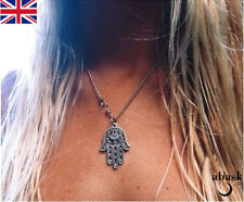 Hamsa Hand Necklace Yoga Buddha Silver Boho Necklace Hand Of Fatima UK Seller