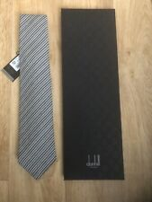 DUNHILL HOUNDSTOOTH TIE BLACK WOVEN  £175 HANDMADE IN ENGLAND SILK MIX BNWT
