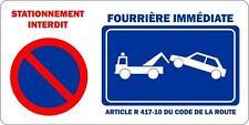 Autocollant sticker portail garage stationnement interdit fourriere panneau