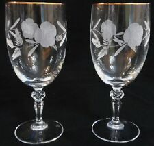 VINTAGE ROYAL DOULTON COUNTRY ROSES GOLD RIMMED CRYSTAL WATER GOBLETS - MINT