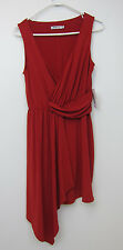 Just Fab Drape Front Dress - Womens Medium - Hot Red - NWT