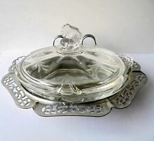 Heisey Queen Anne #1509 Pattern Floral Etched Lemon Dish w/Metal Tray