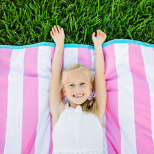 Waterproof Picnic Blanket Rug Brilliant Cabana Pink Stripe (Free Shipping)