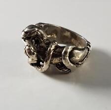 Snake Serpant Women's Ring Sz 4 Mid Century Modern Brutalist Sterling Silver