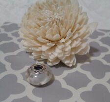 Pandora Authentic Silver Beige Polka Dot Murano Glass Charm Bead 790602