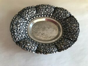 STUNNING INDONESIAN VINTAGE 800 SILVER HIGH RELIEF REPOUSSE LOTUS FLOWER BOWL
