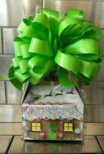 Gingerbread House Christmas Candy Gift Box-Basket Wrapped With Green Bow & Card