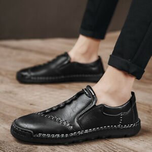 Mens Casual Weaves Slip On Loafers Flats Handmade Leather Driving Comfort Shoes