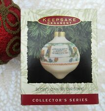 Vintage 1993 Hallmark Betsey's Country Christmas Glass Christmas Ornament in Box