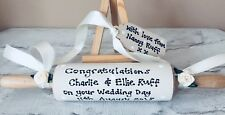 PERSONALISED Traditional Wedding ROLLING PIN Present Bride Groom ~ FREE Gift Tag